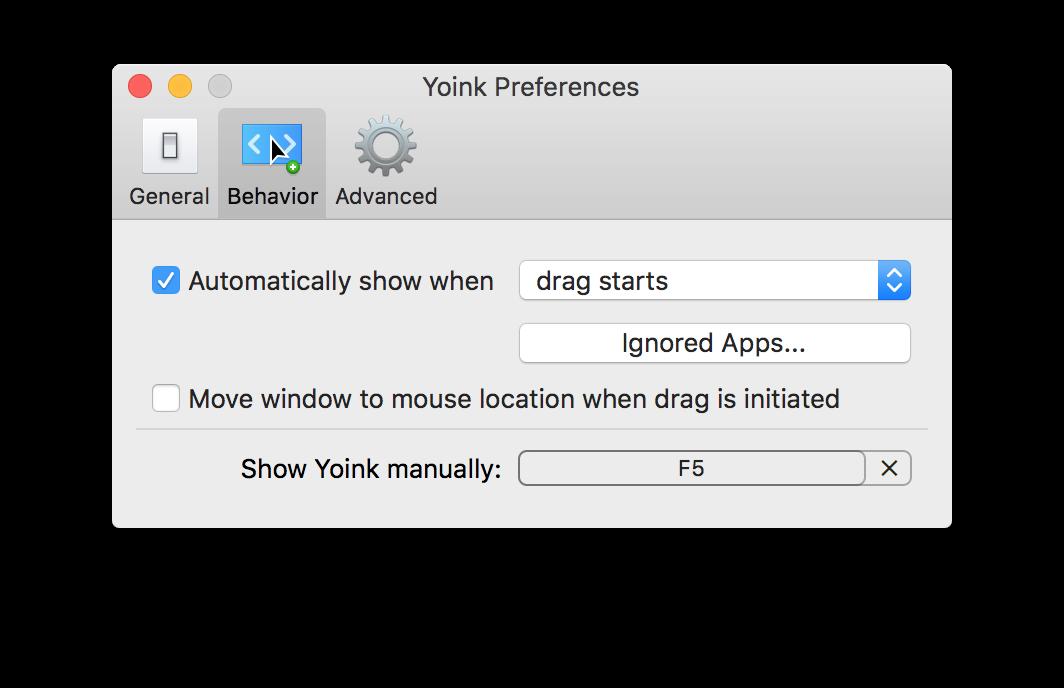 """Programos """"Yoink"""" nustatymai"""