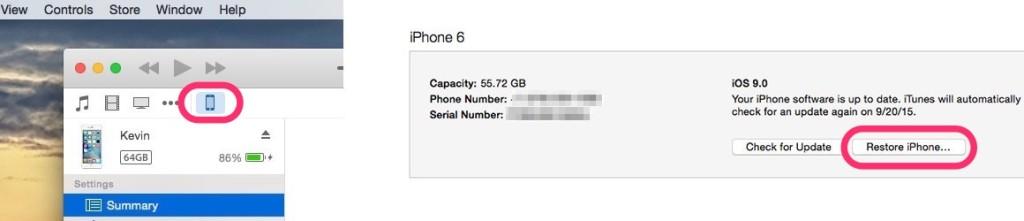 """""""iOS"""" perrašymas per """"iTunes"""""""