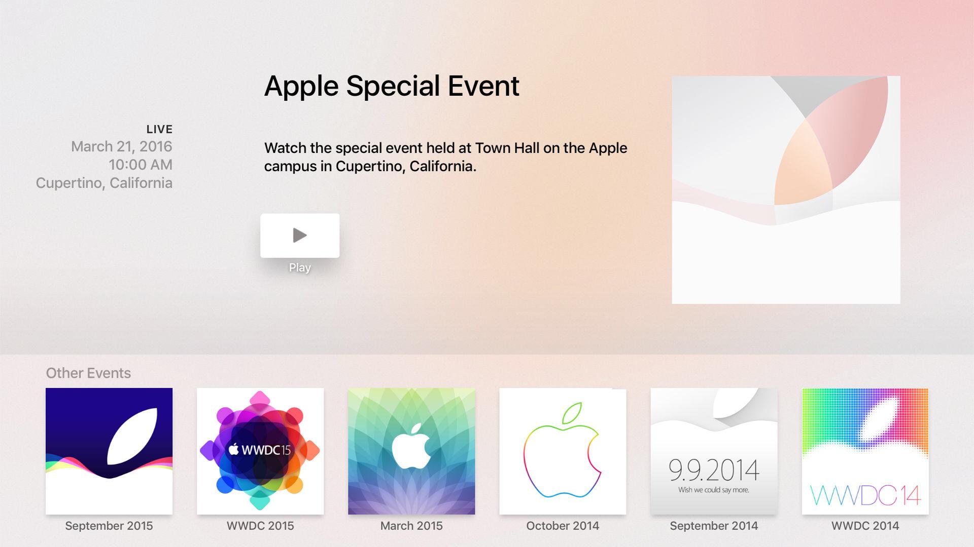 """""""Apple Events"""" aplikacija"""